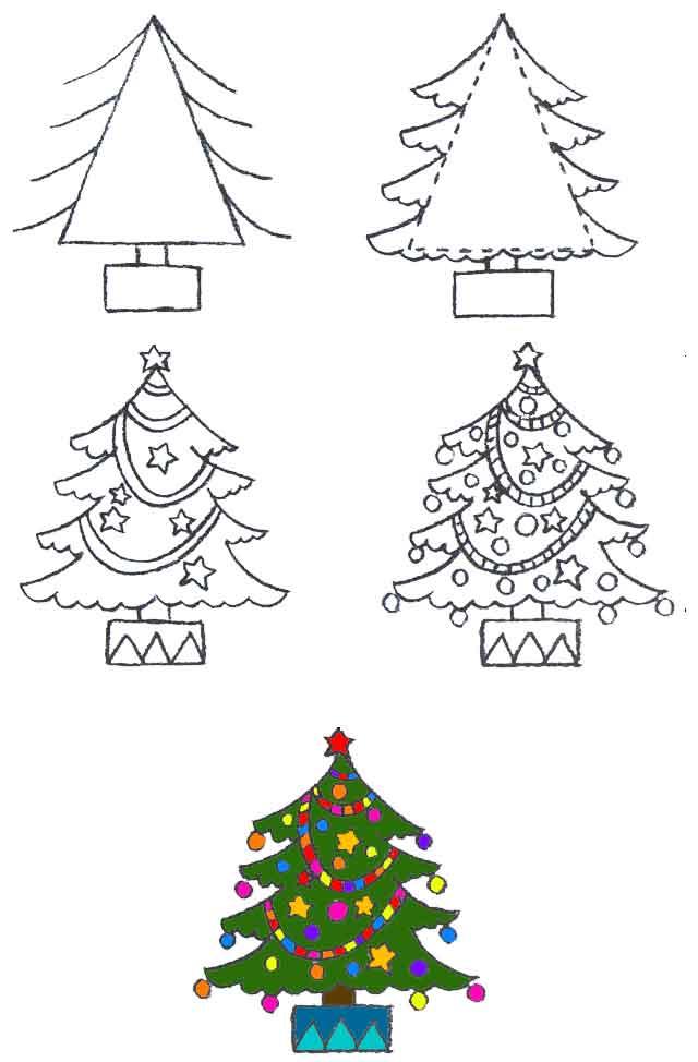 árbol De Dibujo Manera Fácil De Dibujar árboles De Navidad Con Regalos